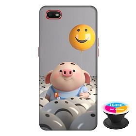 Ốp lưng điện thoại Oppo A1K hình Heo Con Thả Bong Bóng tặng kèm giá đỡ điện thoại iCase xinh xắn - Hàng chính hãng