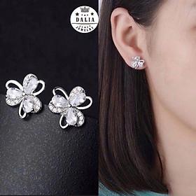 Bông tai bạc nữ hoa 3 cánh nạm đá DaLiA Jewelry sáng tinh tế, sang trọng - BT02