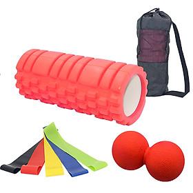33cm EVA Hollow Spike-shaped Yoga Column Hollow Foam Shaft Balance Stick Pilates Yoga Column Set+5 Piece Yoga Exercise