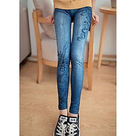 Quần legging giả jean nữ hoa văn MS276