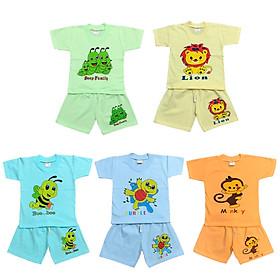 Combo 5 bộ quần áo trẻ em cotton mẫu cộc tay màu nhạt