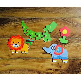 Ghép hình gỗ 6 mảnh hộp sắt dày đẹp My First Puzzle chủ đề Động vật, Xe công trình, Phương tiện giao thông