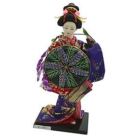 12inch Japanese Geisha Lady Doll w/ Purple Kimono &Cloak Ornament Home Decor