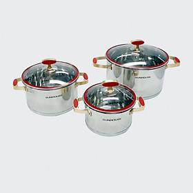 Bộ 3 Nồi Inox 5 Đáy Sunhouse SHG2503MSC (16-20-24cm) - Hàng Chính Hãng
