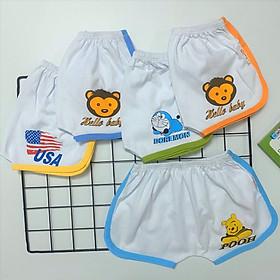 Quần đùi chục cotton trắng viền màu thể thao cho bé trai, bé gái SS-TomTom001
