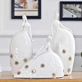 Bộ ba tượng gốm sứ cao cấp cô gái múa bale - TBCG01