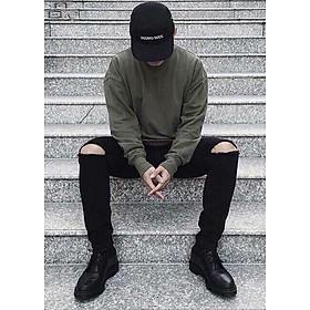 Quần jean nam đen tuyền rách gối - B00