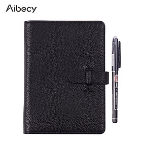 Aibecy Erasable Reusable Smart Notebook Hardcover Writing Journal Loose-leaf Leather Note Book Wet Hot Erase A6 Size 50