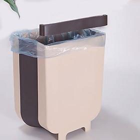 Hình ảnh Thùng Rác Mini Gấp Gọn Chất Liệu Nhựa PP Tiết Kiệm Không Gian Có Móc Cài 2 Màu Lựa Chọn