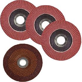 đĩa chà nhám xếp lớp dùng cho máy máy mài góc (3 đĩa nhám xếp lớp + 1 đĩa đá mài)