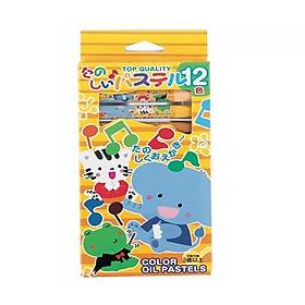 Set 12 bút sáp dầu tô màu cho bé nội địa Nhật Bản