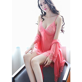 Sét váy ngủ viền ren siêu quyến rủ hàng chất rất đẹp gồm quần chip lọt khe và áo choàng T và dây đai
