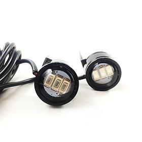 Bộ đèn led trợ sáng cầu lồi mini gắn chân gương xe máy (màu đen)