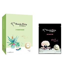 Mặt Nạ Lô Hội Xoa Dịu Giảm Căng Thẳng My Beauty Diary Aloe Vera Soothing Mask (8 Miếng / Hộp) - Tặng mặt nạ Ngọc trai đen