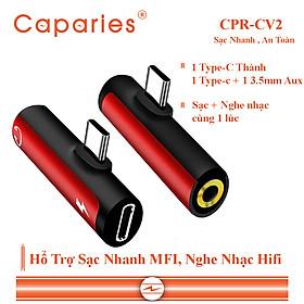 Jack Chuyển Đổi CAPARIES CPR-CV2, chuyển 1 TYPE-C thành 2 Đầu TYPE-C và Jack âm thanh 3.5 - Hàng Chính Hãng