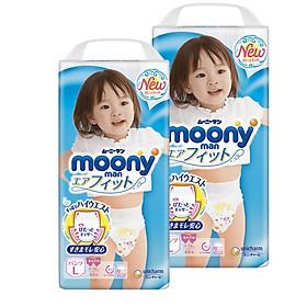 [Combo 2] Bỉm - Tã quần Moony Blue size L Girl 44 miếng (Cho bé 9~14kg)