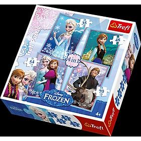 Tranh ghép hình Trefl 34210- 4 trong 1 (35/48/54/70 mảnh) chú đề Elsa ( tranh ghép hình chính hãng )