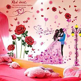 Decal dán tường Hoa hồng nhung đỏ và đôi tình nhân 5 - HP495