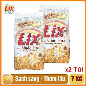 COMBO 2 gói Bột giặt Lix Extra Hương nước hoa (Vàng) tăng gấp đôi sức mạnh giặt tẩy 7kgX2
