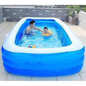 Bể bơi phao cho bé swimming pool KT 262*165*60cm tặng bơm điện, lọ keo và 2 miếng dán