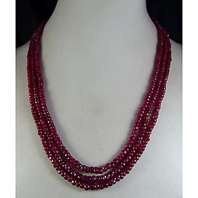 Hot 3x4mm Natural Ruby Faceted Gemstone Beads Statement Necklace 3 Strands