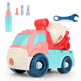 Bộ đồ chơi lắp ghép xe trộn bê tông KAVY với kết hợp của nhiều màu sắc, nhựa nguyên sinh, kích thước rất lớn (kèm vít)
