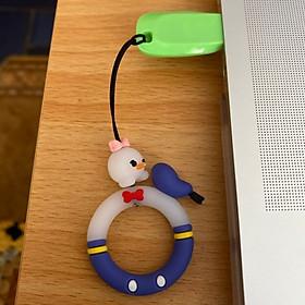 Dây đeo điện thoại, bóp ví, móc khoá khoen tròn hình thú ngộ nghĩnh, loại ngắn xỏ ngón tay - Hàng chính hãng