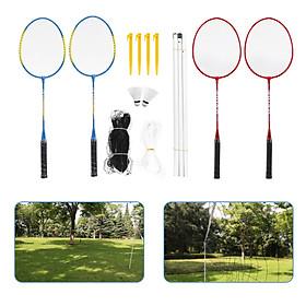 Bộ dụng cụ chơi cầu lông gồm vợt, lưới, cầu ngoài trời