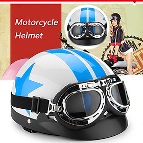 Vintage Motorcycle Protector Helmet Star Pattern Blue and White W/ Visor Goggles