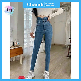 Quần jean nữ Lưng Cao Siêu Hack Dáng Thương Hiệu Chandi, chất jean co dãn 4 chiều ống ôm chân MA704