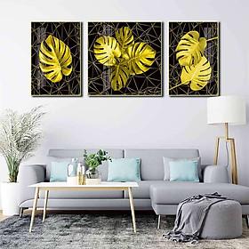Bộ 3 tranh mica cao cấp Lá cây vàng kim - MK043