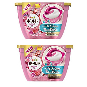 Combo 2 hộp 18 viên nước giặt xả hương hoa màu hồng nội địa Nhật Bản