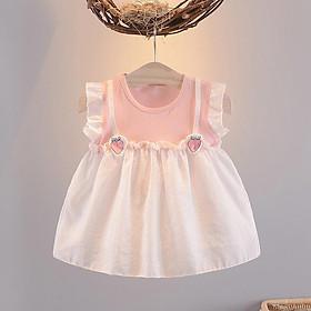 Váy Bé Gái Sát Tay Phối Lưới Dâu Tây Hàn Quốc 1 2 3 4 tuổi TN305 QC
