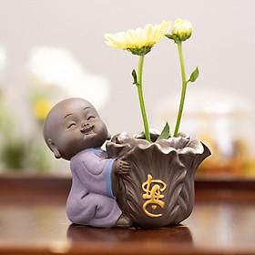 Tượng phong thủy chú tiểu trồng cây chữ Lộc