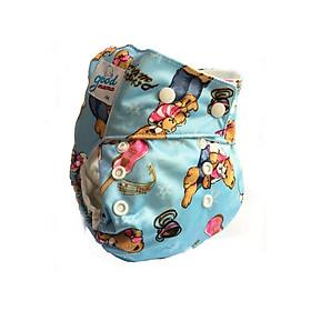 Bỉm vải Goodmama siêu chống tràn màu xanh hình gấu-0
