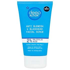 Tẩy da chết Superdrug Deep Action 2% Salicylic Acid Anti Blemish & Blackhead Facial Scrub 150ml