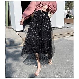 Chân váy xòe công chúa họa tiết lông vũ dễ thương VAY74 free size