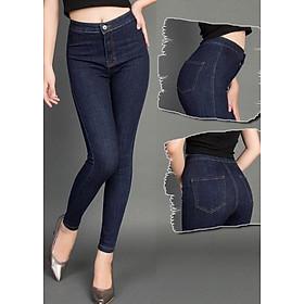 Quần jean nữ cạp cao vải co giãn mềm mại- Xanh đen
