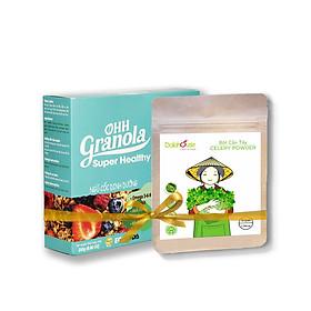 Eat Clean Ngũ Cốc Trái Cây Sấy Super Healthy Ohh Granola 250g + Bột Cần Tây Sấy Lạnh Dalahouse 50g, Hỗ Trợ Giảm Cân, Đẹp Da, Tiêu Chuẩn Chất Lượng FDA - Hoa Kỳ