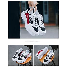 Giày Nam Thể Thao Sneaker Trắng Vải Dệt Đế Cao Su Nguyên Khối Siêu Êm Chân Phối Đen Đỏ Cực Chất Phong Cách Hàn Quốc (Hình thật) CTS-GN052-8