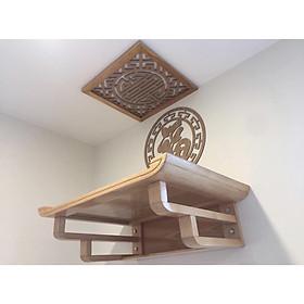 Bàn thờ treo tường gỗ sồi tặng ám khói và chữ trang trí ốp lưng chữ phúc hán mầu gỗ sồi vàng tự nhiên BH 643