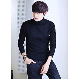 Áo thun len tay dài đen cổ cao AT403