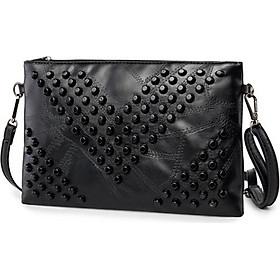 Túi xách  thời trang đính hạt Botusi màu đen(kết hợp cầm tay)