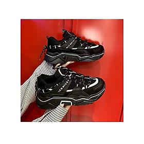 giày thể thao nữ viền phản quang cá tính 2 màu Đen Trắng đế cực tốt