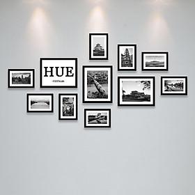 Bộ Khung Ảnh Treo Tường Huế Trắng Đen Tuyệt Đẹp Tặng Kèm bộ ảnh như hình mẫu, đinh treo tranh và sơ đồ treo - PGC271