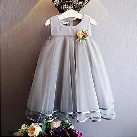 Đầm công chúa mềm mại phối hoa vải trang trọng cho bé gái 3-9 tuổi BBShine – D045