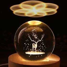 Hộp nhạc quả cầu pha lê 3D-Tuần Lộc