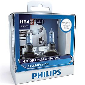 Hộp 2 Bóng Đèn Pha Xe Hơi Philips Crystal Vision HB4 9006CVSM 12V 55W 4300K - Hàng Chính Hãng