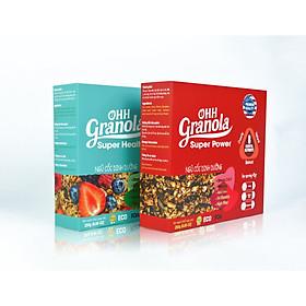 Ăn Liền Không Nấu OHH Granola - Ngũ Cốc Tập Gym  Hoa Quả Sấy Khô + Ngũ Cốc Tăng Cơ Yến mạch, mắc ca, hạt óc chó,danh chế độ Eat Clean Combo 02 x Hộp 250g, Tiêu chuẩn chất lượng FDA Hoa Kỳ