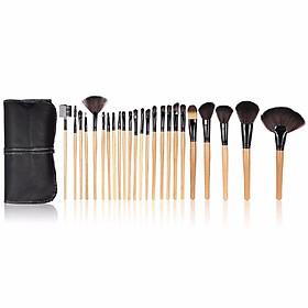 Wood 24Pcs Makeup Brushes Kit Professional Cosmetic Make Up Set + Pouch Bag Case Black   H10074